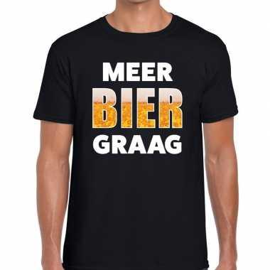 Zwart heren shirt met meer bier graag bedrukking t-shirt
