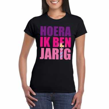 Zwart hoera ik ben jarig shirt voor dames t-shirt