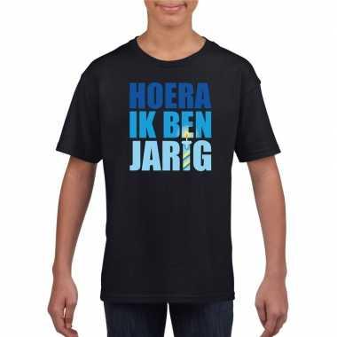 Zwart hoera ik ben jarig shirt voor jongens t-shirt