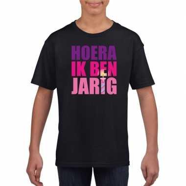 Zwart hoera ik ben jarig shirt voor meisjes t-shirt