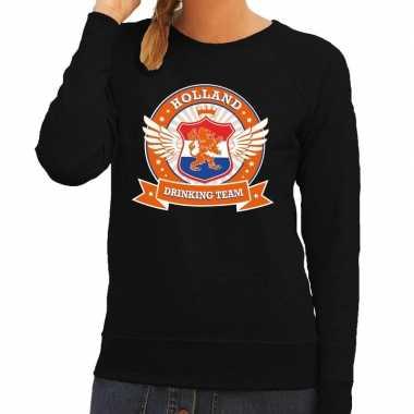 Zwart holland drinking team sweater dames t-shirt