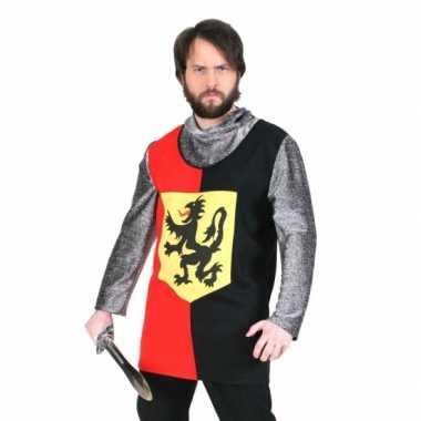 Zwart ridder shirt met capuchon luxe t-shirt