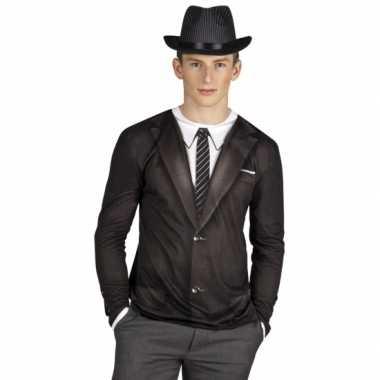 Zwart shirt met smoking opdruk t-shirt