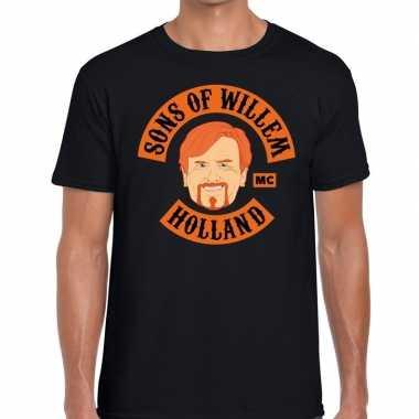 Zwart sons of willem t-shirt heren