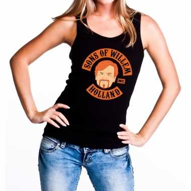 Zwart sons of willem tanktop / mouwloos shirt dames t-shirt