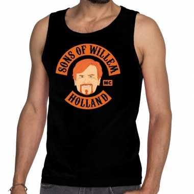Zwart sons of willem tanktop / mouwloos shirt heren t-shirt