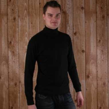 Zwarte coltrui voor pieten kostuum heren met lange mouw t-shirt