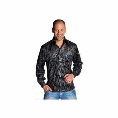 Zwarte disco overhemden heren t-shirt