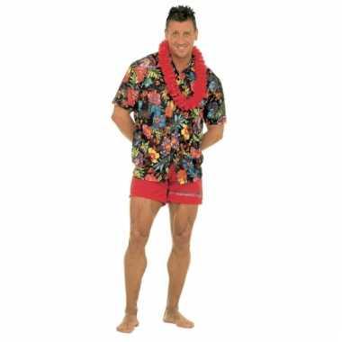 Zwarte hawaii blouse voor heren t-shirt