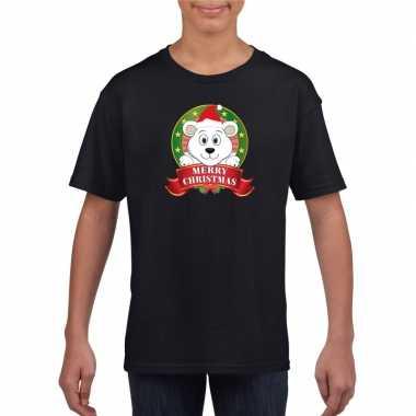 Zwarte kerst t-shirt voor kinderen met ijsbeer