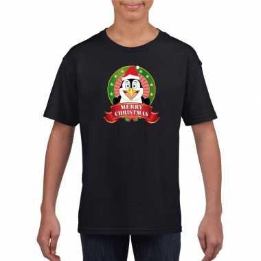 Zwarte kerst t-shirt voor kinderen met pinguin