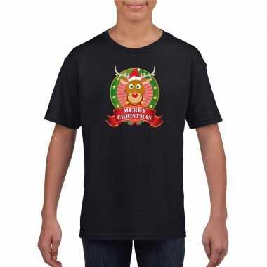 Zwarte kerst t-shirt voor kinderen met rendier