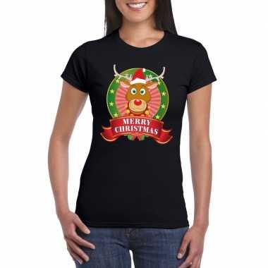 Zwarte rudolf kerst t-shirt voor dames merry christmas