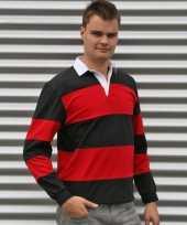 Heren rugbyshirt zwart met rood
