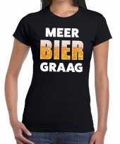 Meer bier graag tekst t-shirt zwart dames
