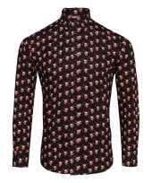 Net rendier overhemd voor heren zwart-shirt