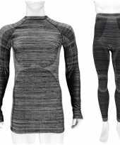Thermo kleding set shirt en broek zwart melange heren maat xxl