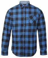 Trucker overhemd geblokt blauw zwart shirt