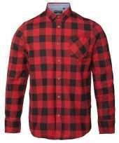 Trucker overhemd geblokt rood zwart shirt