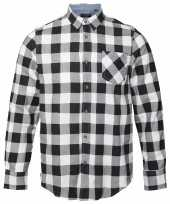Trucker overhemd geblokt wit zwart shirt