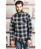 Trucker overhemd geblokt zwart shirt