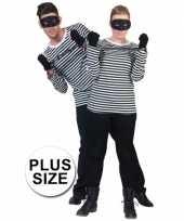 Zwart grote maat verkleedkleding boevenshirt
